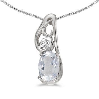 14k White Gold Oval White Topaz And Diamond Pendant