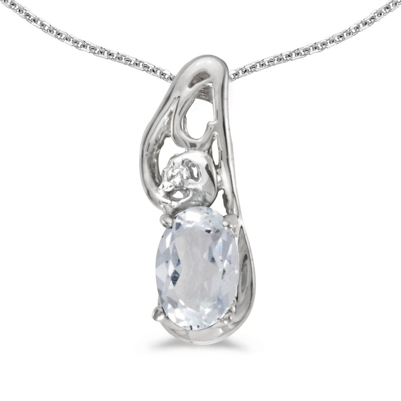Color Merchants 14k White Gold Oval White Topaz And Diamond Pendant