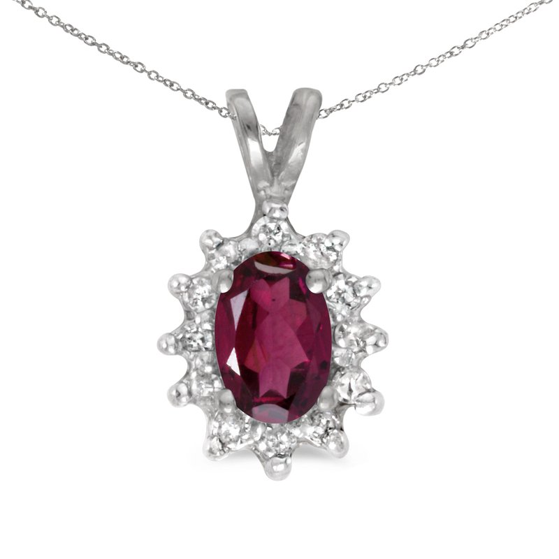 Color Merchants 14k White Gold Oval Rhodolite Garnet And Diamond Pendant