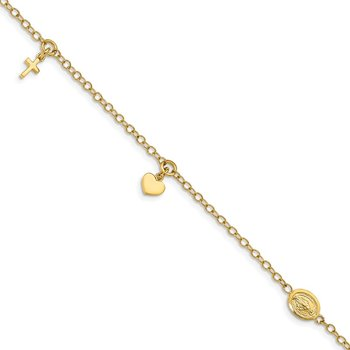 14K Polished Heart Cross Religious Bracelet