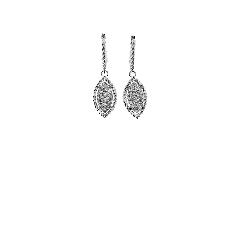 Roberto Coin  #26770 Of 18Kt Yellow And White Gold Marquis Drop Earrings With Diamonds