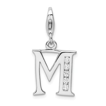 Sterling Silver CZ Letter M w/Lobster Clasp Charm