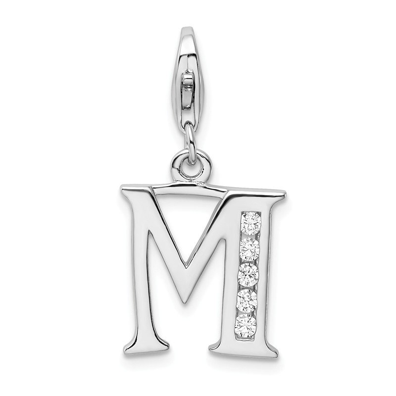 Quality Gold Sterling Silver Amore La Vita Rhodium-plated CZ Letter M Initial Charm