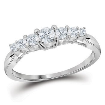 10kt White Gold Womens Round Diamond 7-stone Fashion Ring 1/3 Cttw