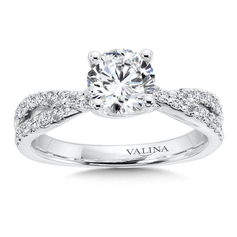 Valina Criss Cross Engagement Ring with Diamond Side Stones in 14K White Gold (0.35 ct. tw.)