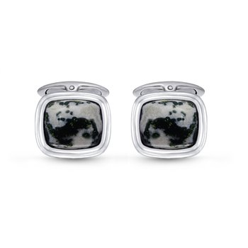 LuvMyJewelry Tree Agate Stone Cufflinks in Sterling Silver & Black Rhodium