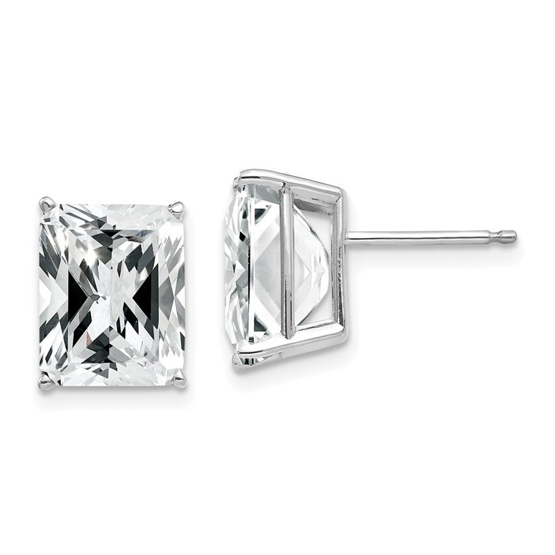 J.F. Kruse Signature Collection 14k White Gold 10x8mm Emerald Cut Cubic Zirconia Earrings
