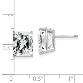 14k White Gold 10x8mm Emerald Cut Cubic Zirconia Earrings