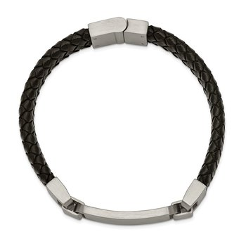 Stainless Steel Brushed Black Leather 8.5in ID Bracelet