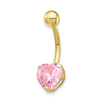 10k W/8Mm Pink Cz Heart Belly Dangle