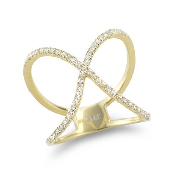 14K Yellow Gold and Diamonds bow Ring