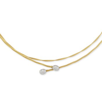 Yellow Cable Interlaced Necklace with 18kt White Gold & Diamonds