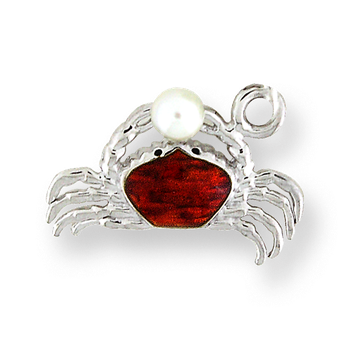 Sterling Silver Crab Charm-Red.  Pearls.