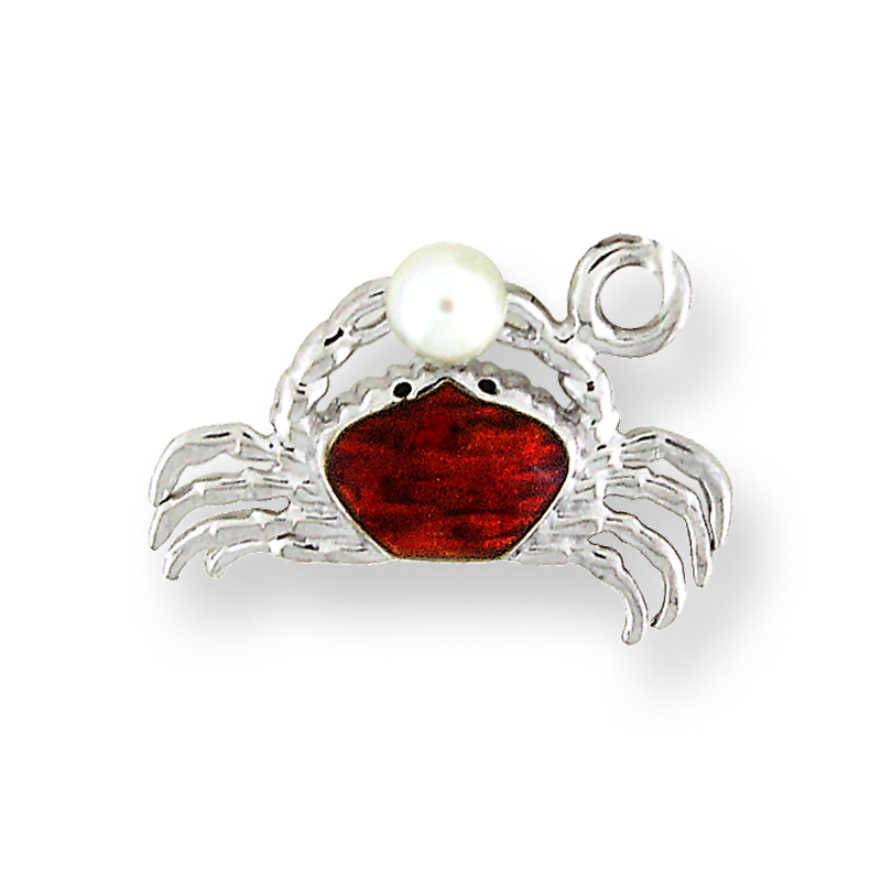 Nicole Barr Designs Sterling Silver Crab Charm-Red.  Pearls.