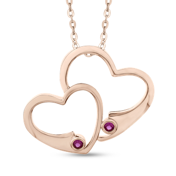 10K Rose Gold .11 Ct Ruby Heart Pendant with Chain