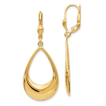 Leslie's 14K Polished Teardrop Leverback Earrings