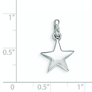Sterling Silver RH Plated Child's Polished Star Pendant