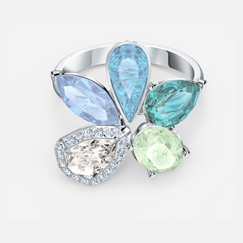Sunny Ring, Light multi-colored, Rhodium plated