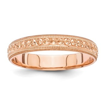 14K Rose Gold 3mm Design Etched Wedding Band