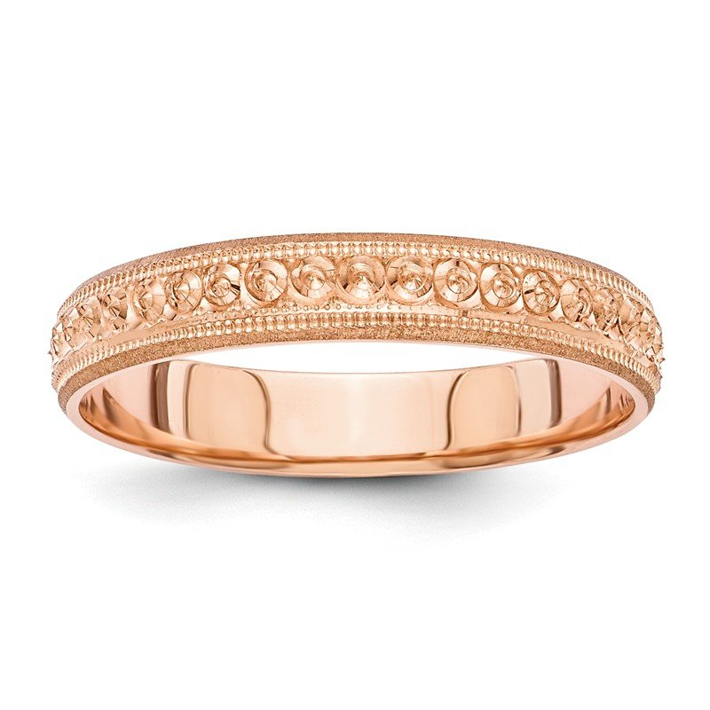 Quality Gold 14K Rose Gold 3mm Design Etched Wedding Band