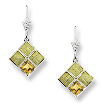 Sterling Silver Square Weave Wire Earrings-Yellow.  Citrine.