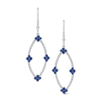 Sapphire & Diamond Marquise Frame Earrings Set in 14 Kt. Gold