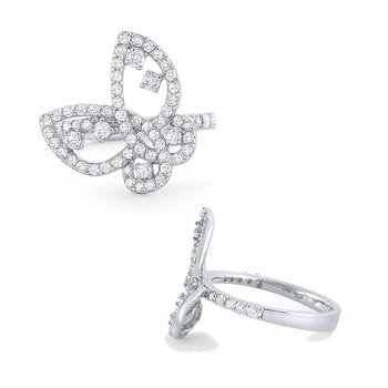 14k Gold and Diamond Butterfly Ring