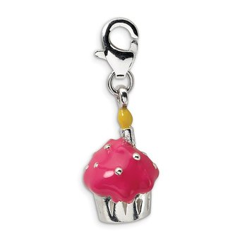 Sterling Silver 3-D Enameled Cupcake & Candle w/Lobster Clasp Charm