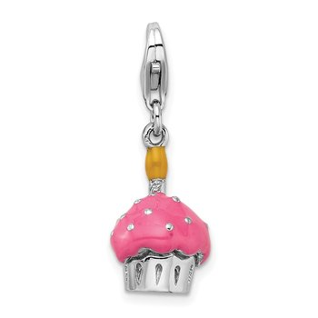 Sterling Silver Amore La Vita Rhod-pl 3-D Enameled Cupcake Candle Charm