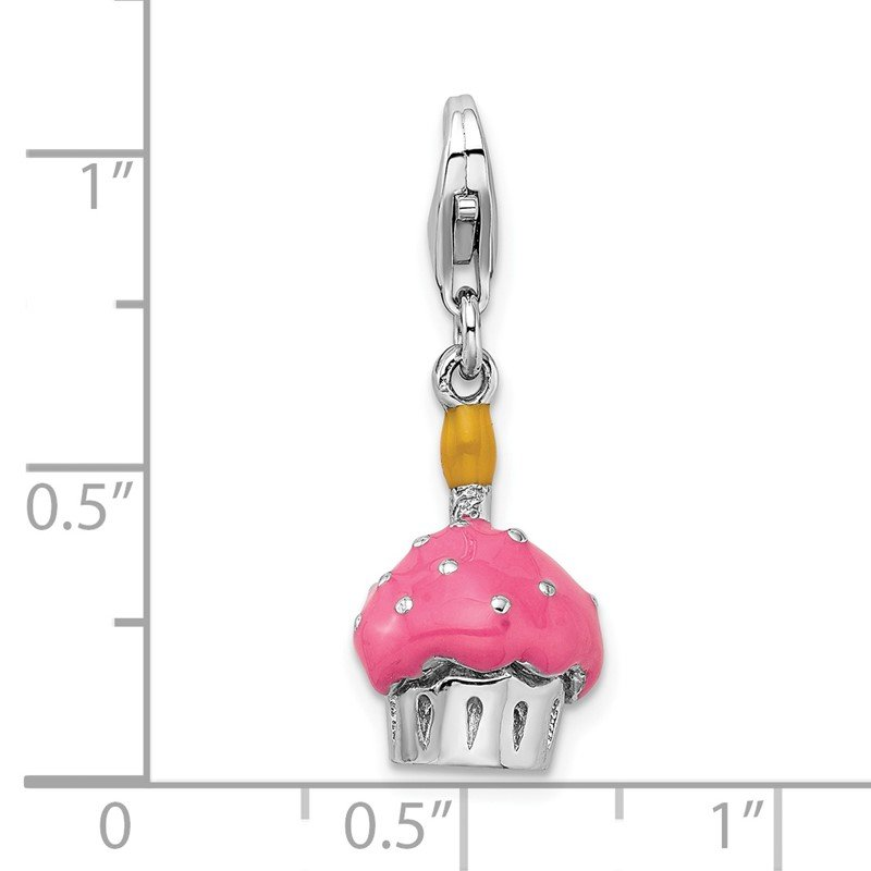 Quality Gold Sterling Silver Amore La Vita Rhod-pl 3-D Enameled Cupcake Candle Charm