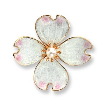 White Dogwood Brooch-Pendant.Rose Gold Plated Sterling Silver-Akoya Pearl