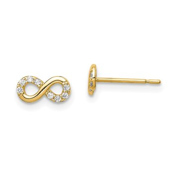 14k Madi K CZ Infinity Symbol Post Earrings