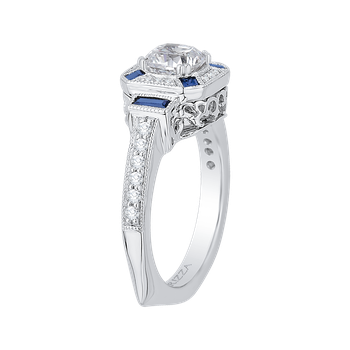 18K White Gold Cushion Cut Diamond Halo Engagement Ring with Sapphire (Semi-Mount)