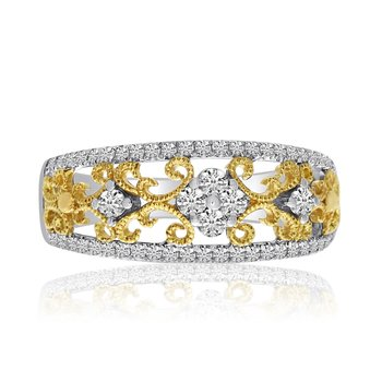 14k Two-Toned Filigree Diamond and Fashion Ring