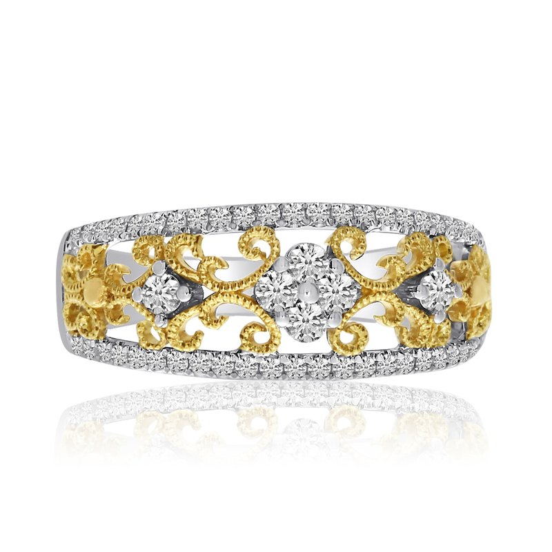 Color Merchants 14k Two-Toned Filigree Diamond and Fashion Ring