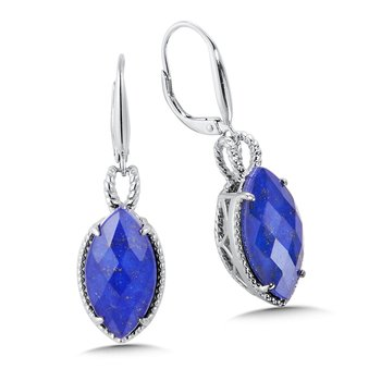 Sterling Silver Lapis Fusion Leverback Earrings