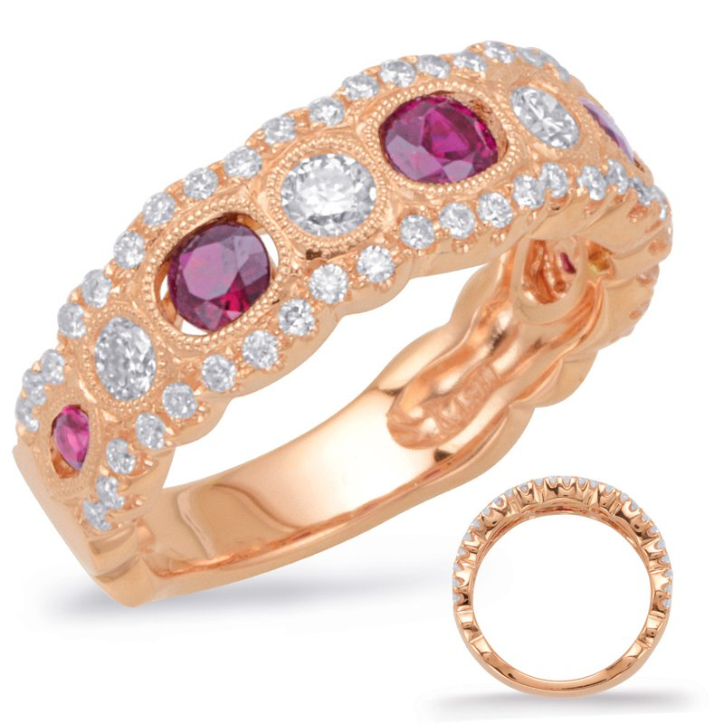 S. Kashi  & Sons Rose Gold Ruby & Diamond Band