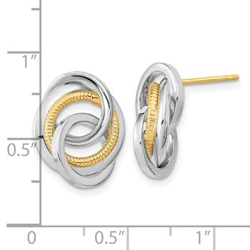 14k Two-Tone Polished & Textured Post Earrings