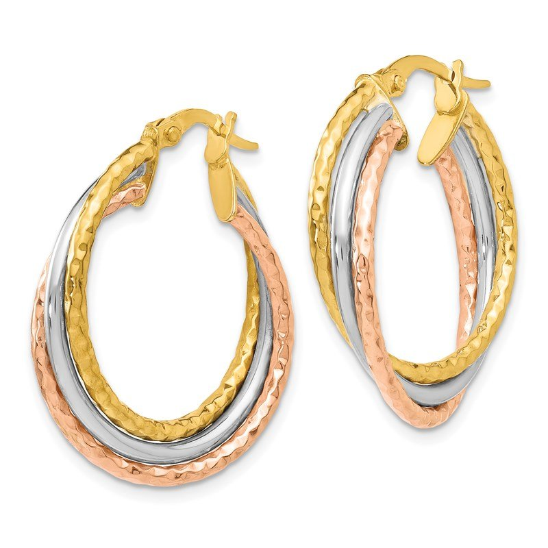 Leslie's Leslie's 14K Yellow Gold w/White & Rose Rhod Textured Hoop Earrings