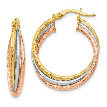 Leslie's 14k Yellow Gold w/White & Rose Rhod Textured Hoop Earrings