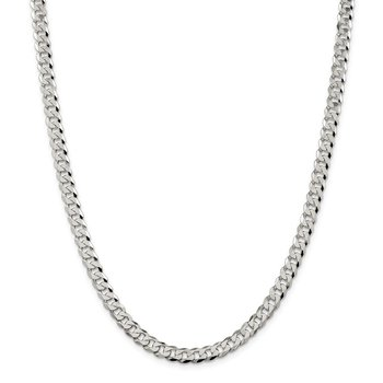Sterling Silver 6mm Beveled Curb Chain