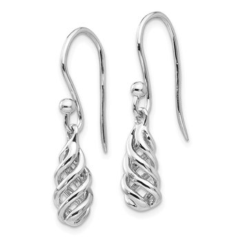SS White Ice .01ct Diamond Spiral Dangle Earrings