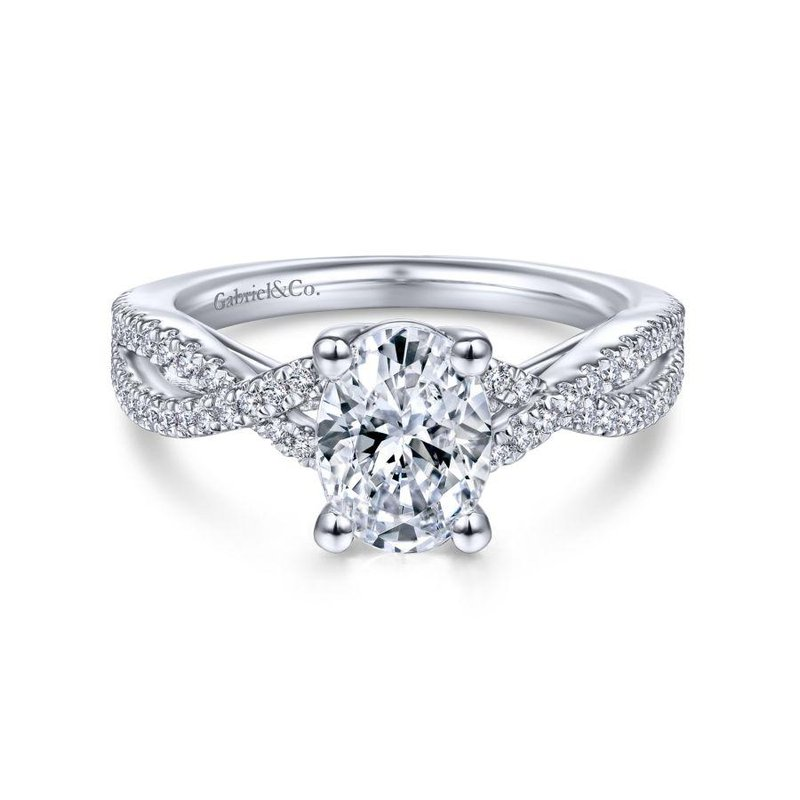 Gabriel Bridal 14K White Gold Twisted Oval Diamond Engagement Ring