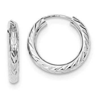 14k White Gold Polished & D/C Endless Hoop Earrings