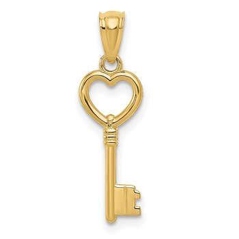 14K Polished 3D Heart Key Charm