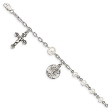 Sterling Silver FW Cultured Pearl Rosary Bracelet