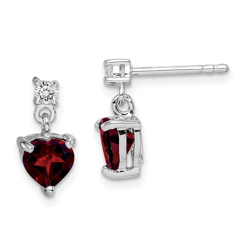 Quality Gold Sterling Silver Rhodium-plated Heart Garnet/White Topaz Dangle Earrings