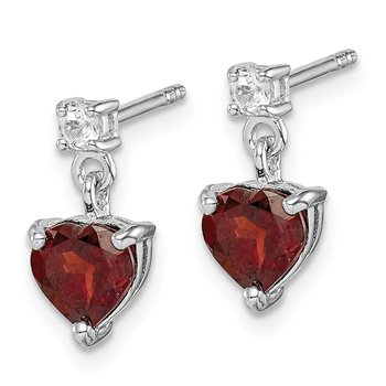 Sterling Silver Rhodium-plated Heart Garnet/White Topaz Dangle Earrings