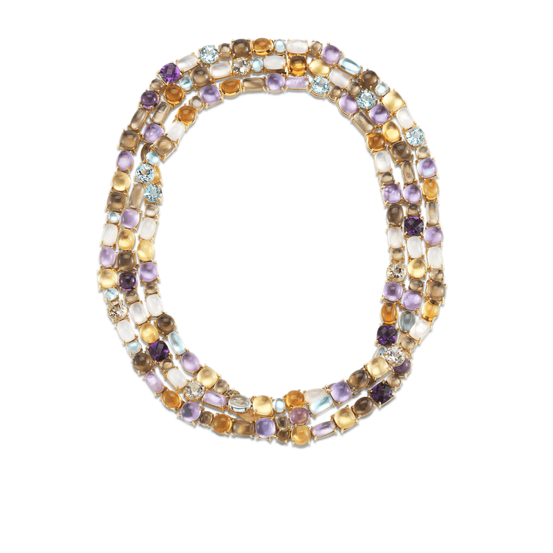 Roberto Coin 3 Row Necklace With Semi Precious Stones