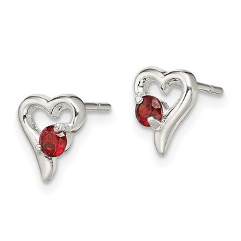 Sterling Silver with Red CZ Heart Post Earrings